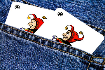 Jokers in trouser pocket