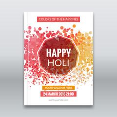 Holi festival poster. Template for flyer, brochure or invitation. Vector illustration. Design for Indian Festival of Colours, Happy Holi celebration.