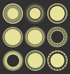 Collection of Round Decorative Border Frames with Black Filled Background