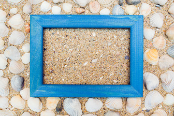 Travel background with frame on sand