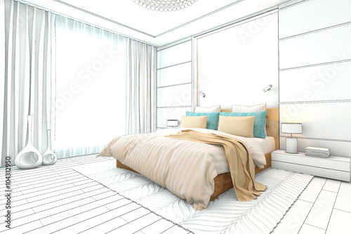 Modern bedroom drawing interior stock photo and royalty for Bedroom designs sketch