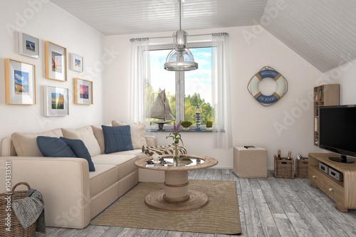 Maritimes wohnzimmer ferienwohnung im dachgeschoss stockfotos und lizenzfreie bilder auf - Maritimes wohnzimmer ...