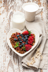 Granola, milk, yogurt , fresh berries.  Delicious breakfast