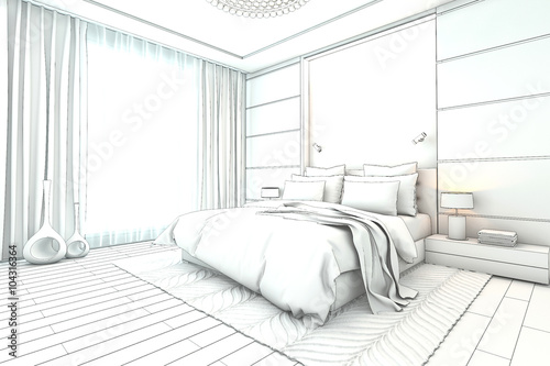 Architectural Sketch Interior Modern Bedroom Design