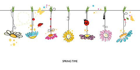 Spring time floral background with hanging colorful daisy vector