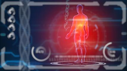 Scanner human body. Futuristic medical hud monitor. Medical concept future