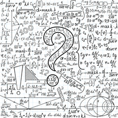 """Mathematical vector seamless background with question mark and task solutions, """"handwritten on the copybook paper"""""""