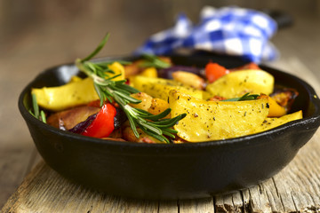 Roasted spring vegetables with rosemary and garlic.