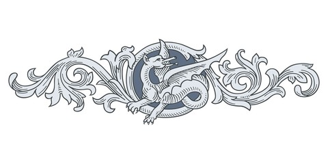 Dragon Frame Ornament vector