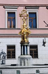 Sculpture Fountain gold Princess Turandot near Vakhtangov Theater
