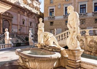 Palermo sculptural Fontain Pretoria, Sicily, Italy.