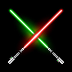 Crossed light swords of Jedi based on the movie Star War. Green and red swords