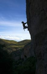 Climber silhouette in Vadiello