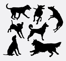 Dog pet animal silhouette 19. Good use for symbol, logo, web icon, mascot, sign, sticker design, or any design you wany. Easy to use.