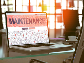 Maintenance Concept - Closeup on Landing Page of Laptop Screen in Modern Office Workplace. Toned Image with Selective Focus. 3D Render.