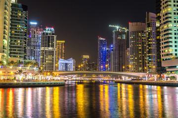 Dubai marina at night