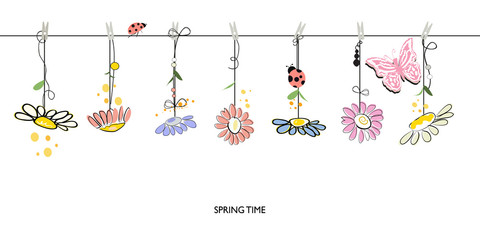 Spring time floral border background with hanging colorful daisy vector