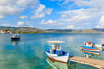 Typical Greek fishing boats mooring on coast of Samos island, Greece
