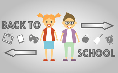 Back to School poster with school kids