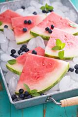 Watermelon slices on ice