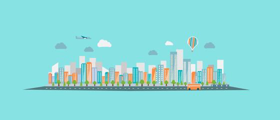 Foto op Plexiglas Blauw Modern vibrant city in vector graphics