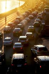 Traffic Jam in sunset beams