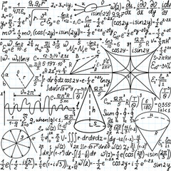 """Vector seamless pattern with mathematical equations, plots and figures, """"handwritten on the copybook paper"""""""