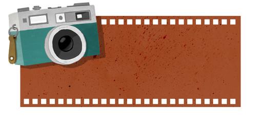 Cámara de fotos antigua sobre carrete. Cartel, pancarta, tablero o señal