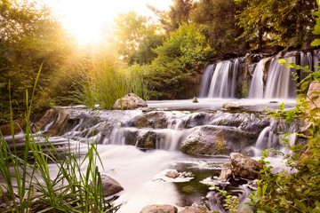 Printed roller blinds Waterfalls Rushing waterfall at sunset