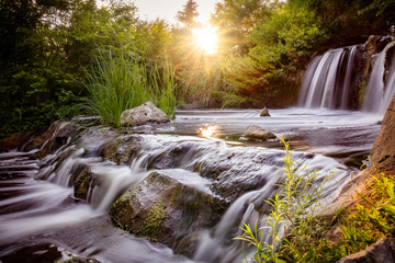 Printed roller blinds Waterfalls Waterfall at sunset