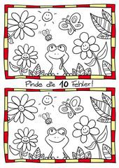 Fehlerbild Frosch mit 10 Fehlern