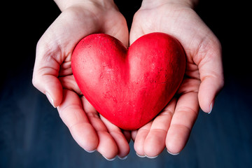 Red Heart on the Palm - Love Symbol