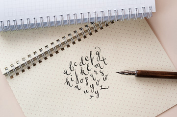 Hand drawn calligraphic English alphabet written with ink pen