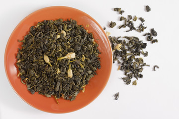 Green tea in saucer