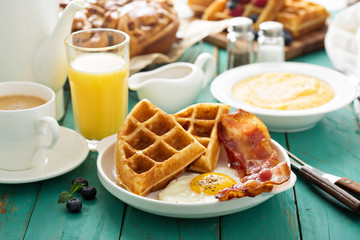 Southern cuisine breakfast with waffles Wall mural