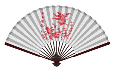 Ancient Chinese Fan with Goldfish