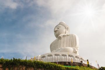 Big buddha in blurred sky
