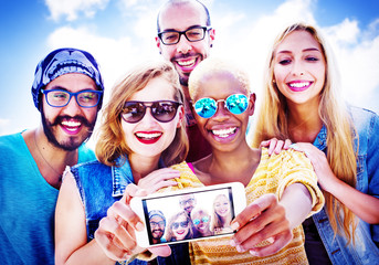 Diverse Summer Friends Fun Bonding Selfie Concept