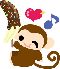 The pretty monkey eating a banana with chocolate