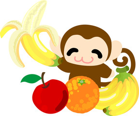 The so many fruits and pretty monkey