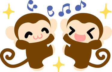 The pretty monkeys are delight each other