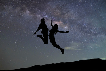milky way, Couple jumping the galaxy