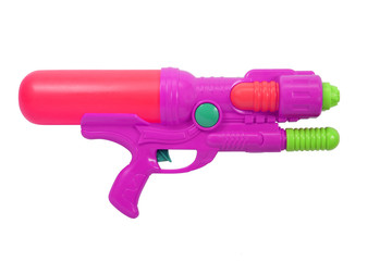 Plastic water gun isolated on white
