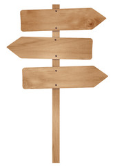 Wooden arrow sign post