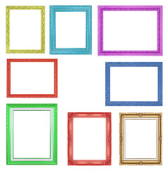 The collection colorful frames on the white background
