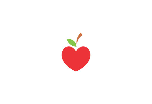 apple fruit and heart symbols of healthy food logo