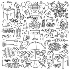 Barbecue party doodle set