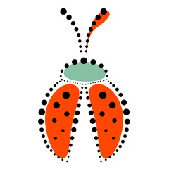Vector illustration of insect. Icon of decorative ornamental red ladybug with dots, isolated over white background