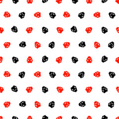 Seamless vector pattern with insects, chaotic background with bright red and black decorative ladybugs,  on the white backdrop. Series of Animals and Insects Seamless Patterns.
