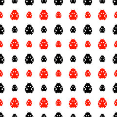 Seamless vector pattern with insects, symmetrical background with bright red and black decorative ladybugs,  on the white backdrop. Series of Animals and Insects Seamless Patterns.